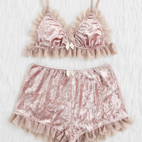Lace Trim Crushed Velvet Bralette & Shorts Pj Set -SheIn(Sheinside)