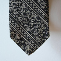 Abstract African Black and White Bokolanfini Mud Cloth Pattern Vintage Tie Made for Smithsonian Museum