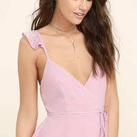 Totally In Love Mauve Pink Wrap Top
