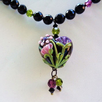 Artisan Lampwork Floral Heart Pendant Onyx Glass Beads Swarovski Crystals