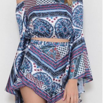 Paisley Print Two Piece Set
