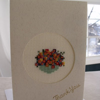 handmade cross stitched thank you card – basket of flowers