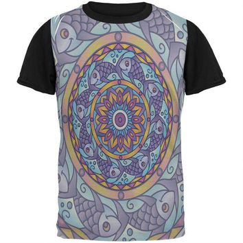 DCCKJY1 Mandala Trippy Stained Glass Fish All Over Mens Black Back T Shirt
