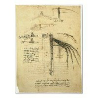Winged Flying Machine Sketch by Leonardo da Vinci Print