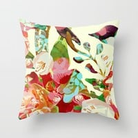 clown floral Throw Pillow by Clemm
