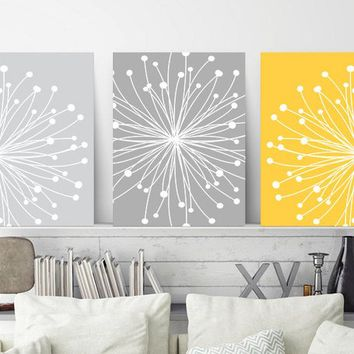 DANDELION WALL ART, Yellow Gray Wall Art, Dandelion Canvas or Prints, Master Bedroom Wall Decor, Bathroom Decor, Set of 3 Floral Home Decor