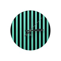 Mint Green And Vertical Black Stripes Patterns Wall Clocks from Zazzle.com