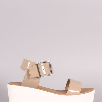 Soda Patent Open Toe Flatform Wedge Sandal