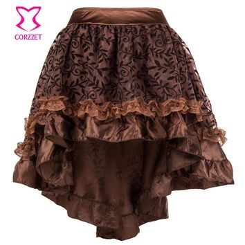 Vinatge Victorian Floral Flocking and Ruffled Asymmetrical Women Skirt Jupe Steampunk Corset Gothic Skirts Womens saia lapis
