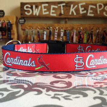 Dog Collar Made from St Louis Cardinals Inspired Ribbon