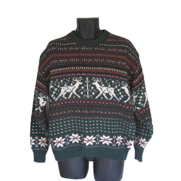 Ugly Christmas Sweater Men Pullover Sweater Dark Green Sweater Winter Sweater Holiday Sweater Reindeer Sweater Knit Sweater Crewneck Sweater