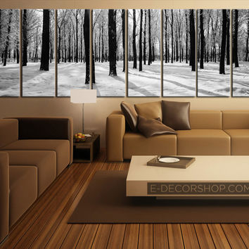 Large Wall Art Forest in Winter Canvas Art Set | 8 Panel Canvas Art Print | Canvas Print Forest and Winter Theme