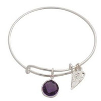 Expandable Bangle Bracelet Birthstone June Charm Silver Plate
