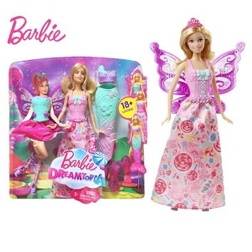 Original Barbie Fairy Tale Mermaid Dress Up Doll Girl Toys Gift Set Birthday Christmas Present Toys Gift For Children DHC39