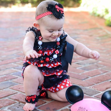 Minnie Mouse Romper Outfit - Minnie Mouse Birthday Outfit - ncludes: Romper, Chunky Necklace, Headband, Barefoot Sandals - Newborns-Toddlers