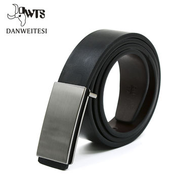 Cincture home high quality genuine leather smooth buckle male belt black white black fashion