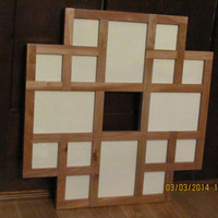 Multiple Pictures Frame, Collage Frame, Multiple Openings Frame, Multiple Photos Frame, Cherry Wood
