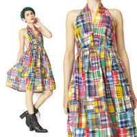 Vintage Patchwork Plaid Halter Dress (XS/S)