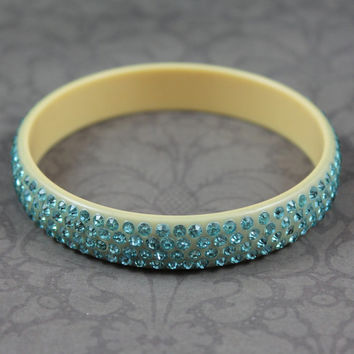Vintage Cream Colored Celluloid 4 Row Teal Rhinestone Bangle Bracelet
