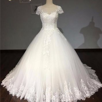 Real Bride Sexy Backless Vintage Lace Beaded Wedding Dress 2018 Bridal Gowns Modest Plus Size Wedding Dress Robe De Mariage
