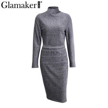 Glamaker Bright silk two pieces black dress Women long sleeve autumn midi dress Female stand up collar winter slim bodycon dress