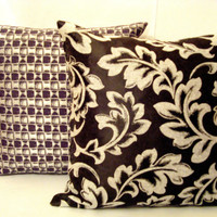 Two black pearl grey abstract and leaves pillows – Set of two