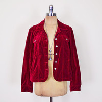 Red Velvet Jacket Red Jacket Jean Jacket Denim Jacket Oversize Jacket 90s Jacket 90s Grunge Jacket Gypsy Jacket Coat Women M Medium L Large