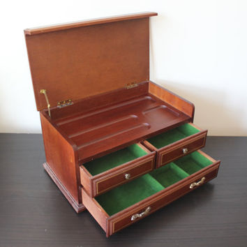 Large Wood Jewelry Box Valet Vintage Orga