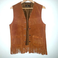 Vintage Leather Fringe Vest Suede Tan Brown Button Up Boho Bohemian Festival Hippie Soft Grunge Size Medium Large