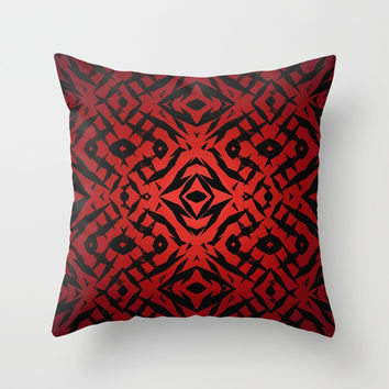 Red tribal shapes pattern Throw Pillow by steveball