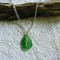 Beach glass necklace in kelly green with silver key charm. Beach glass jewelry.
