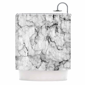 "Chelsea Victoria ""Marble No 2 "" Black Modern Shower Curtain"