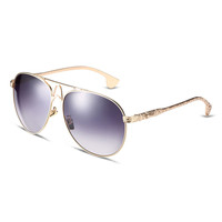 Gray Mirror Lens Metal Frames Aviator Sunglasses