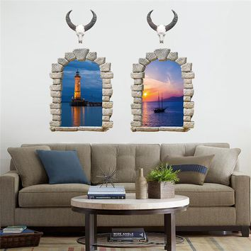 Removable Waterproof Wall Stickers 3D Fake Window Cow Sea Evening Scenery Mural Art Decal For Home Living Room Bedrooom Decor
