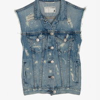 Burney Tattered Denim Vest-Vests-Jackets + Outerwear-Clothing- IntermixOnline.com