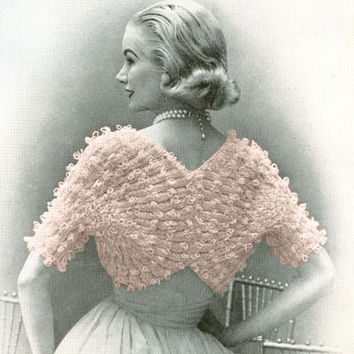 PDF Pattern 1950s Vintage Womens Knitted SHRUG Pattern Sleeved Sweater Bolero Cape PDF Instant Download Coat Jacket epsteam Pattern knitting