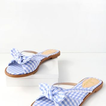 Delilah Light Blue Gingham Knotted Slide Sandals