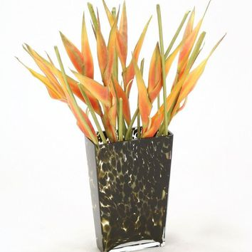 Waterlook (r) Orange Heliconias In Leopard-Spotted Glass Vase