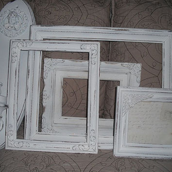5 pc Shabby chic French Country inspired wall grouping .... WHITE Frames and chunky Cherub wall sconce