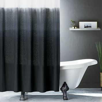 ombre black shower curtain
