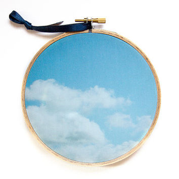 Dreamy Blue Sky and Clouds Photography Hoop Art, 5 inch Hoop Art, Nature Photograph, Minimal Modern Nursery Art, Photograph on Fabric