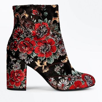 Red Velvet Floral Brocade Heeled Ankle Boots | New Look