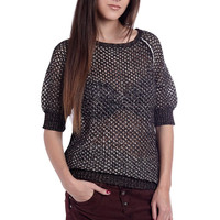 Q2 Golden Open Knit Sweater With 3/4 Sleeve