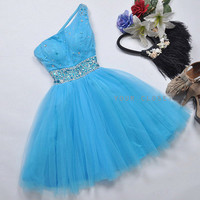 Cute one-shoulder beading mini dress / ball gown - 2colors from Your Closet