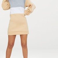Petite Nude Contrast Sports Stripe Sweater Dress