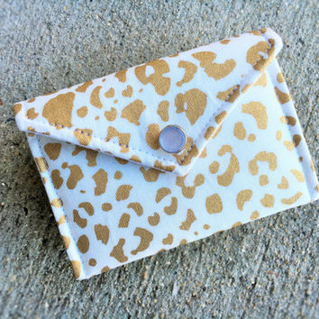 Business Card Holder - Gold print on white