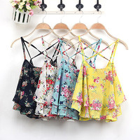 Floral Chiffon Layered Cross Back Tank