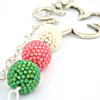 Shades of spring beaded bead necklace