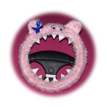 Fuzzy Baby pink faux fur Monster car steering wheel cover 'Petunia' fluffy furry fun
