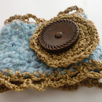 Blue Cuff, Crocheted Blue Cuff, Crocheted Jewelry, Blue Crocheted Bracelet, Blue and Brown Bracelet, Blue Crocheted Cuff, Wrist Cuff